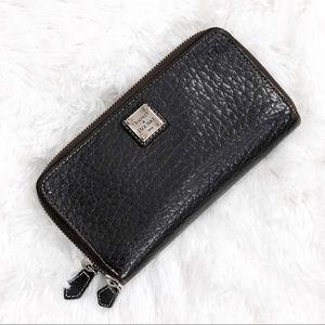 Dooney and Bourke Double Zipper Dark Brown Wallet